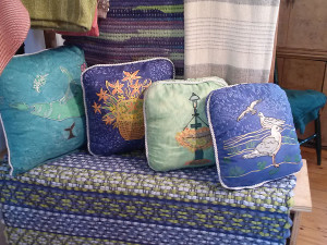 Pillows on display at Island Weaves