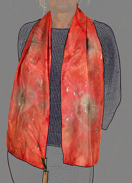Red Scallop Seaburst Handpainted Scarf | Diana Northrop