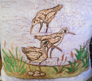 Curlew Family Silk Pillow | Diana Northrop