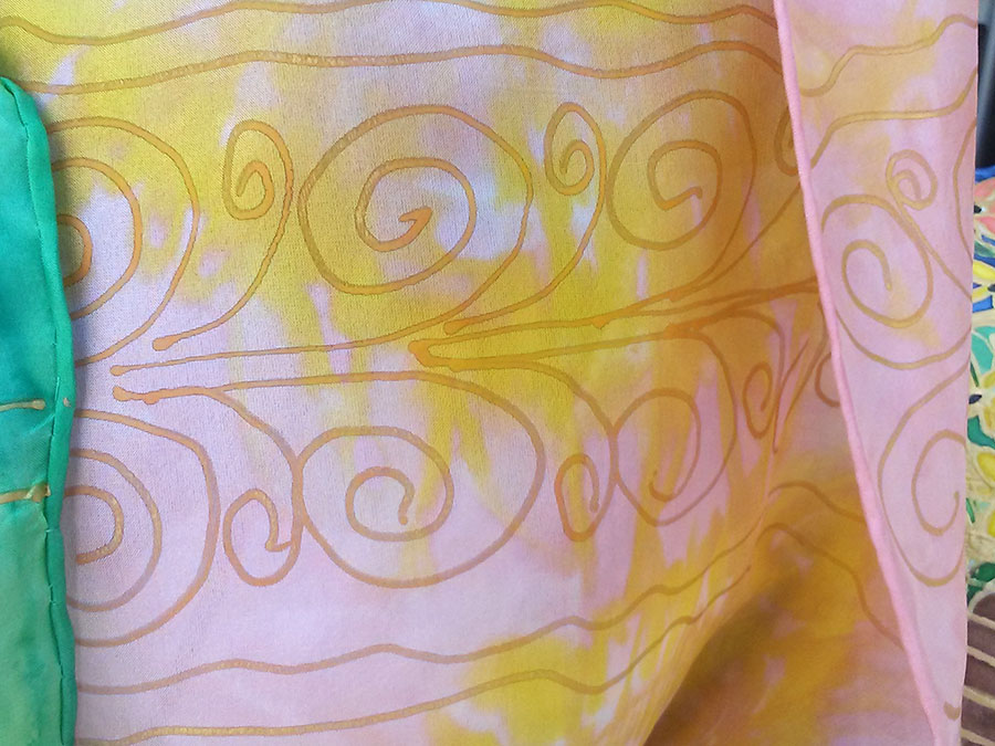 Abstract with Gold Swirls Scarf |Diana Northrop
